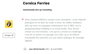 Corsica Ferries recommande Ad's up Consulting